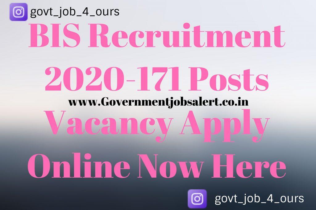 BIS Recruitment 2020-171 Posts Vacancy Apply Online Now Here