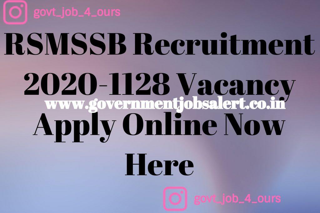 RSMSSB Recruitment 2020-1128 Vacancy Apply Online Now Here